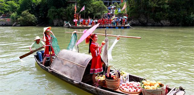湟川水上果市开幕再现秦汉水上贸易市场盛景